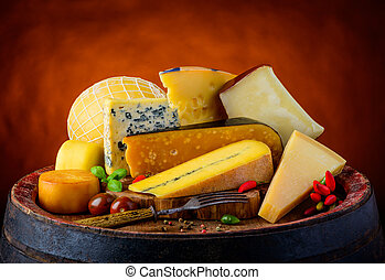 gouda, queijo,  gorgonzola,  morbier