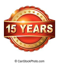 gouden, 15, jubileum, jaren, etiket, lint