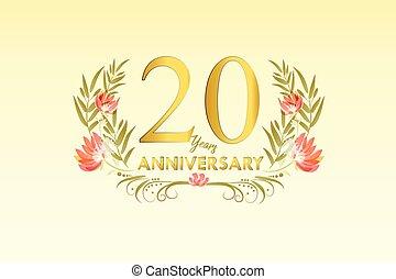 gouden, 20, krans, jubileum, illustratie, jaren, watercolor, vector
