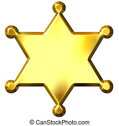 gouden, 3d, badge, sheriff\'s