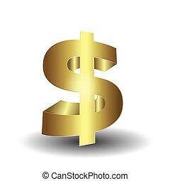 gouden, 3d, het teken van de dollar