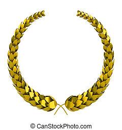 gouden, 3d, laurier