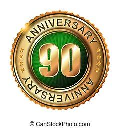 gouden, 90, jubileum, label., jaren