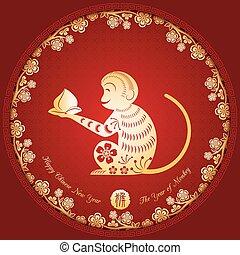 gouden, aap, chinees, achtergrond, jaar, nieuw