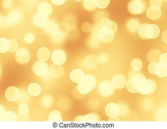 gouden, abstract, bokeh, achtergrond, lichten