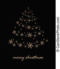 gouden, abstract, boompje, achtergrond., black , kerstmis
