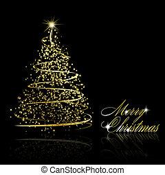 gouden, abstract, boompje, zwarte achtergrond, kerstmis