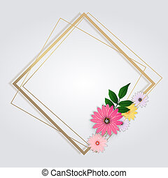 gouden achtergrond, bloemen, frame., schattig, illustratie