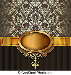 gouden achtergrond, frame., luxe, ouderwetse