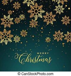 gouden achtergrond, snowflakes, zalige kerst