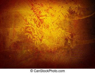 gouden achtergrond, textuur, of, behang, met, gebladerte,...