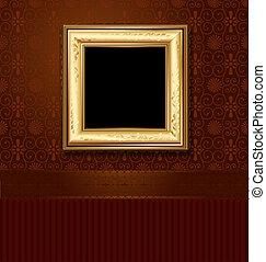 gouden, afbeelding, muur, ouderwetse , frame, behang