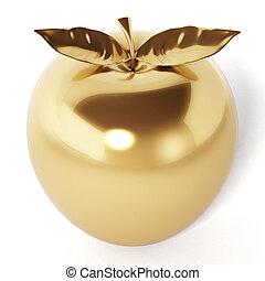gouden appel, vrijstaand, illustratie, achtergrond., witte , 3d