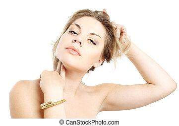 gouden, armband, meisje