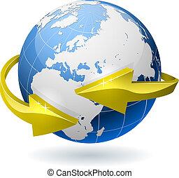 gouden, arrows., globe, omringde, radiaal, aarde
