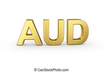 gouden, aud, valuta, kortere weg, op wit