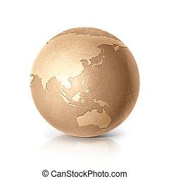gouden, australië, kaart, globe, &, azie, illustratie, 3d