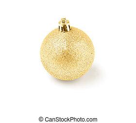 gouden, bal, boompje, vrijstaand, versiering, kerstmis