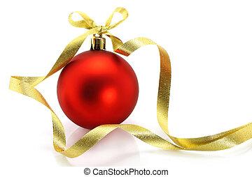 gouden, bal, lint, achtergrond, witte kerst, rood