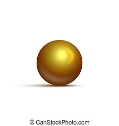 gouden, bal, realistisch, vrijstaand, achtergrond., vector, ontwerp, witte , element.