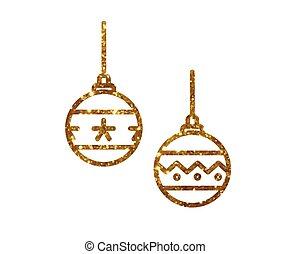 gouden, Bal, Vector, deocoration, schitteren, Kerstmis,...
