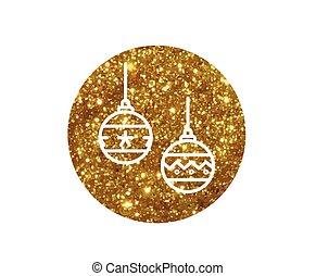 gouden, bal, versiering, vector, lijn, schitteren, kerstmis, pictogram