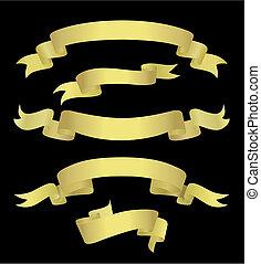 gouden, banieren, (vector)