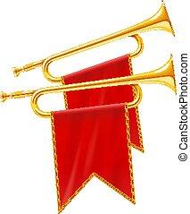 gouden, banner., koninklijk, hoorn, instrument, trompet, muzikalisch, rood