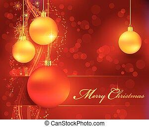 gouden, baubles, bokeh, achtergrond, kerstmis, rood