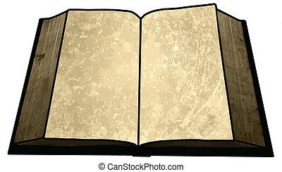 gouden, beeld, boek, lege, leeg