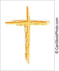 gouden, beeld, grunge, kruis