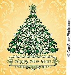 gouden, begroetende kaart, kerstmis