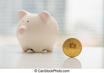 gouden, bitcoin, munt, in, piggy bank , -, symbool, van, crypto, currency., concept, van, elektronisch, feitelijk geld, voor, web, bankwezen, en, internationaal, netwerk, betaling