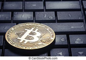 gouden, bitcoin, op, de, computer toetsenbord