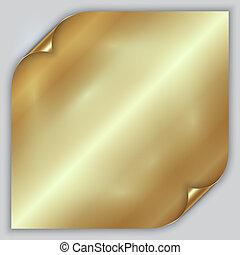 gouden, blad, gerolde, abstract, metalen, folie, vector