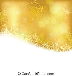 gouden, blurry, kerstmis, achtergrond, lichten
