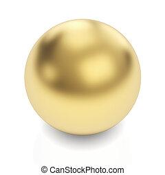 gouden, bol, op wit