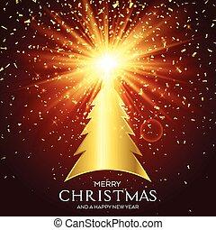 gouden, boompje, kerstmis, achtergrond, 1411