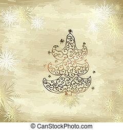 gouden, boompje, kerstmis