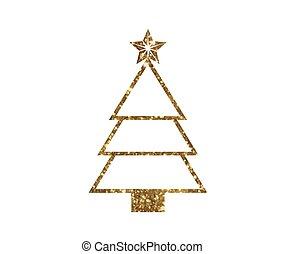 gouden, boompje, vector, lijn, schitteren, kerstmis, pictogram