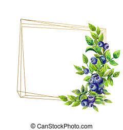 gouden, bosbessen, illustration., rijp, frame, vrijstaand, watercolor, achtergrond., geometrisch, witte