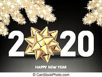 gouden, bow., 2020, achtergrond, jaar, black , nieuw, vrolijke