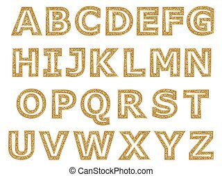 gouden, brieven, alfabet