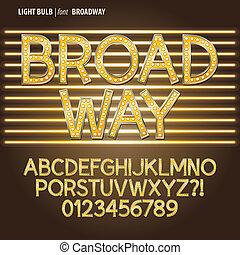 gouden, broadway, gloeilamp, alpahbet, en, cijfer, vector