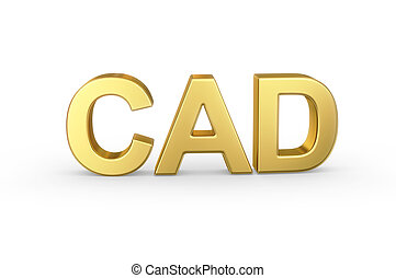 gouden, cad, valuta, kortere weg, op wit
