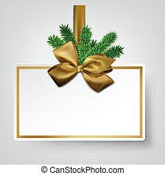 gouden, cadeau, bows., papier, wit satijn, kaart