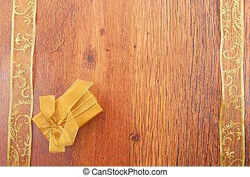 gouden, cadeau, ruimte vensterraam, achtergrond, kopie, grens, lint