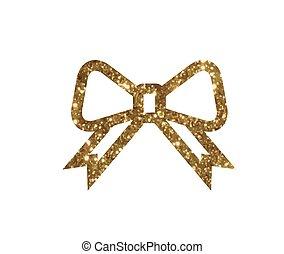 gouden, cadeau, vector, lijn, schitteren, lint, pictogram