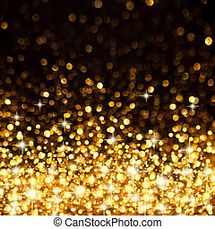gouden, christmas lights, achtergrond