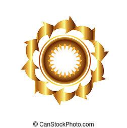 gouden, cirkel, vector, pijl